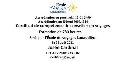 Certification Agent de voyage